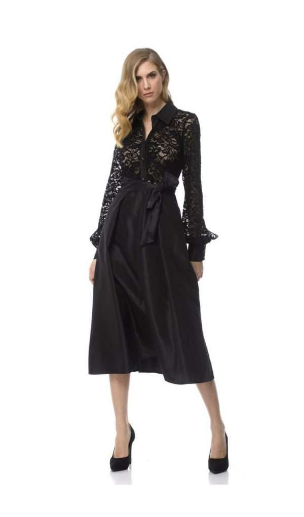 Camelot Black Lace Top Dress with Flair Sateen Skirt and Trim