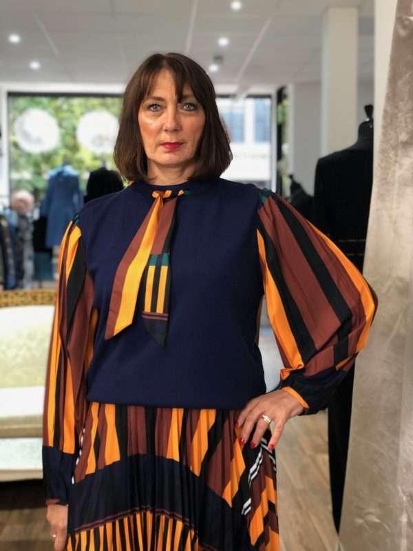 Darling Contrast Linear Print Sweater