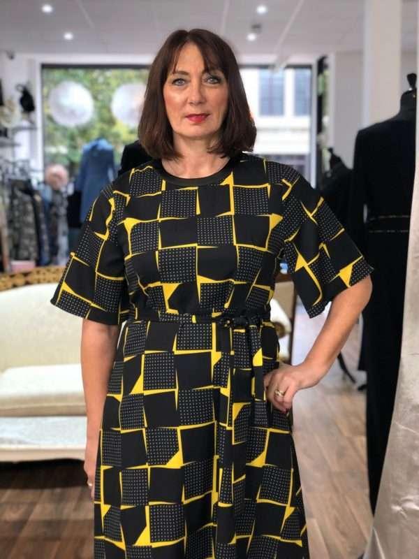 Darling Spot the Dot Yellow Round Neck Print Dress