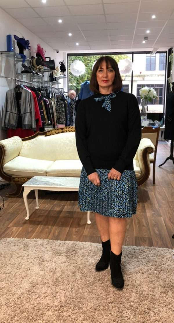 Darling Knit Dress with Cheetah Print Frilled Hem