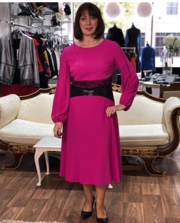 Kate Cooper Fuchsia Lace Waist Dress