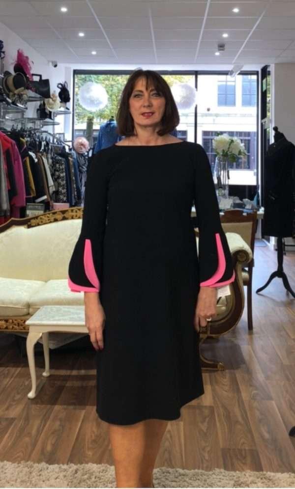 Kate Cooper Black Dress with Bubblegum Trimmed Ruffle Sleeve