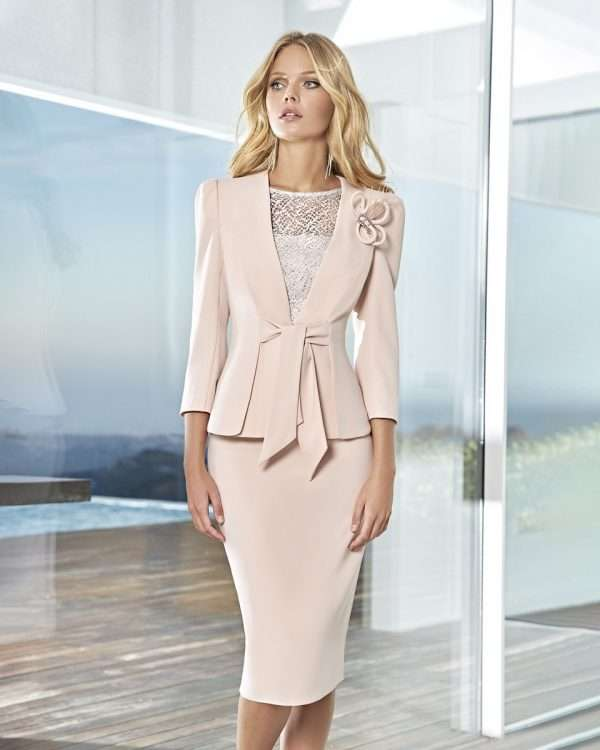 Sonia Pene - Nude and Silver Dress with Tie Front Jacket
