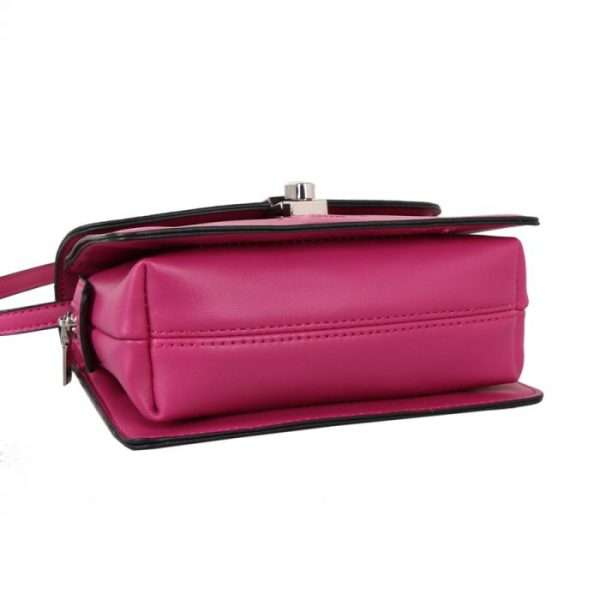 Hot Pink Cross Body Bag With Lock Fastening