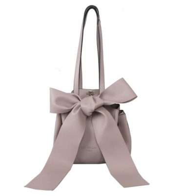 IVORY - Beige Round Shoulder Bag with Bow Detail