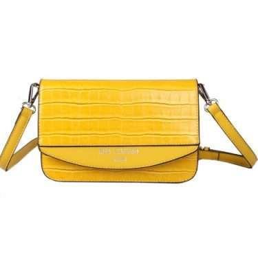 Red Cuckoo Yellow Croc Effect Cross Body Bag