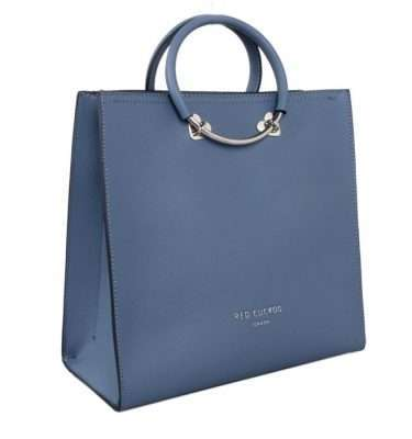 Red Cuckoo Blue Square Tote with Heart Details