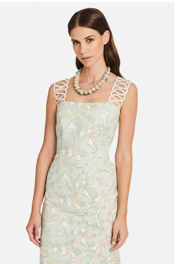 Badoo Mint Floral Dress with Gold Chain Strap