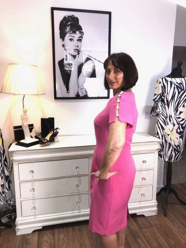 Badoo Pink Fitted Dress with Pearl Shoulder Detail
