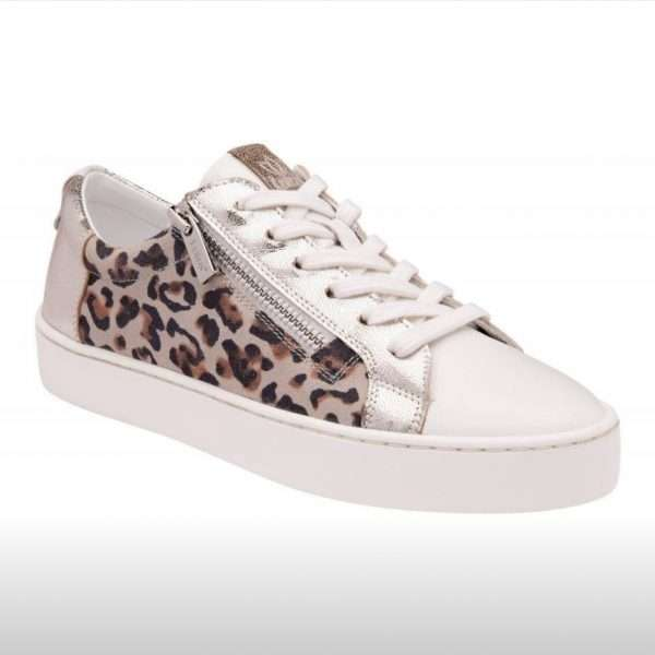 Lotus Sky White Leather and Leopard Print Trainer