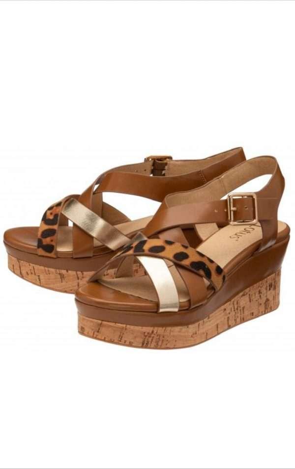 Lotus Tan Belinda Open Toe Wedge Sandals