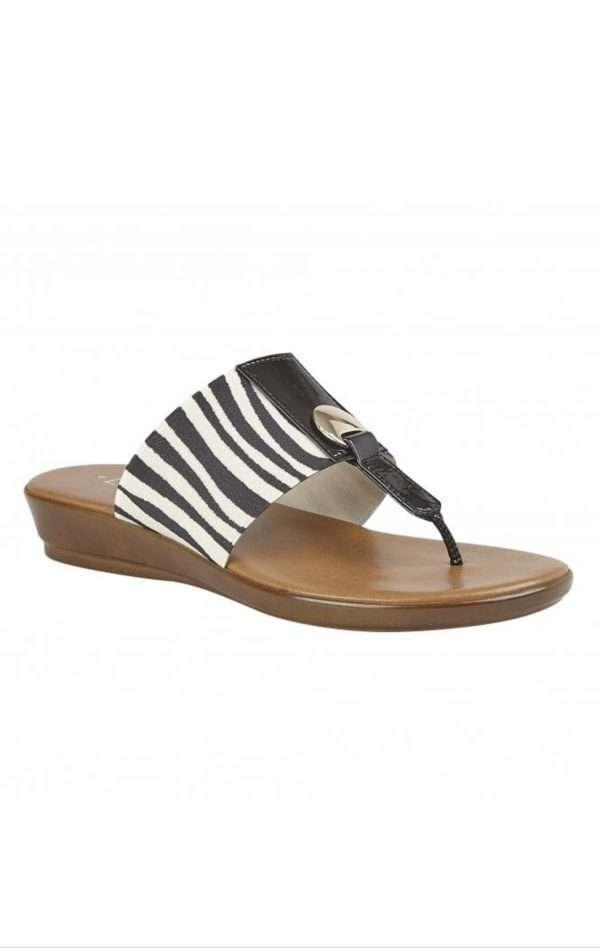 Lotus Zebra-Print Arna Slip-On Toe-Post Sandals