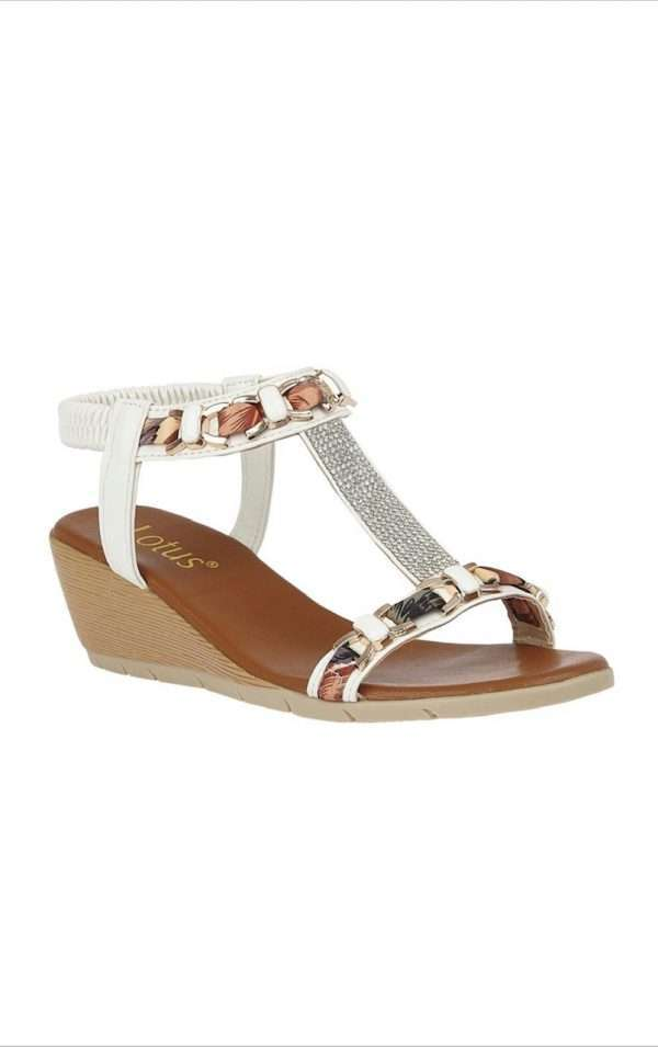 Lotus White Neve Wedge Sandals