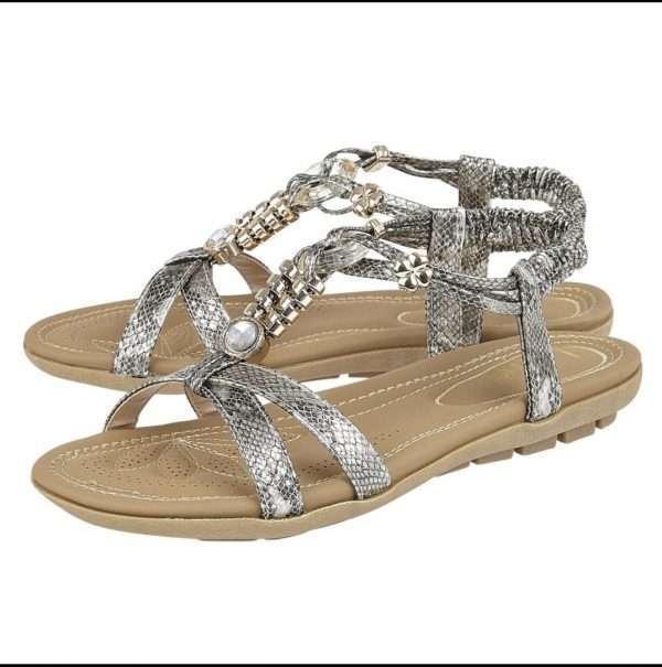 Lotus Pewter Snake-Print Stacey Flat Sandals