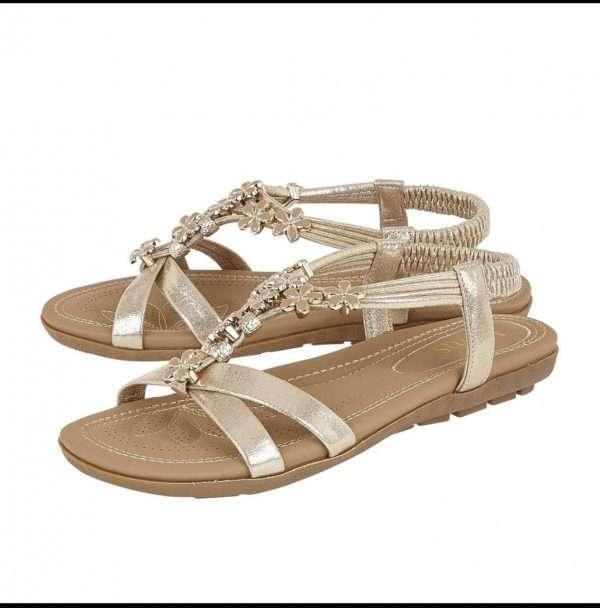 Lotus Gold Lucine Flat Sandals
