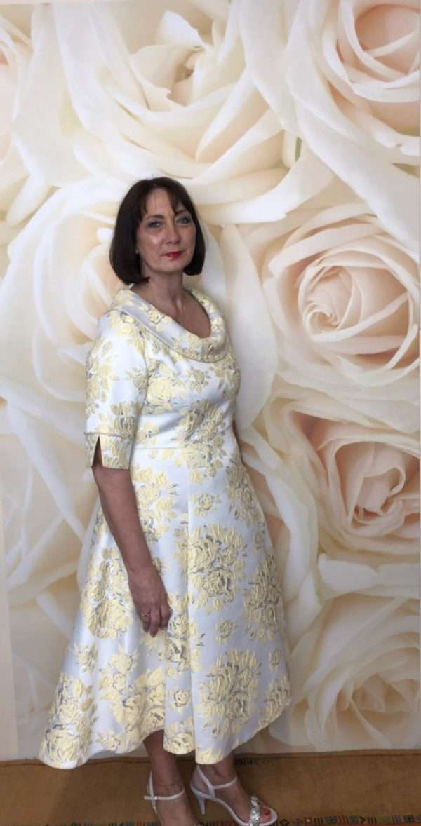Ella Boo Lemon Fit and Flair Dress with Diamante Trim Sleeve