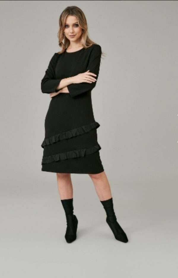Kate Cooper Black Dress with Frill Panels