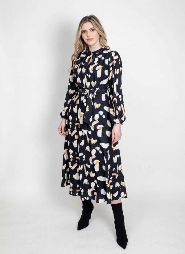 I.nco Print Dress with Tie Belt