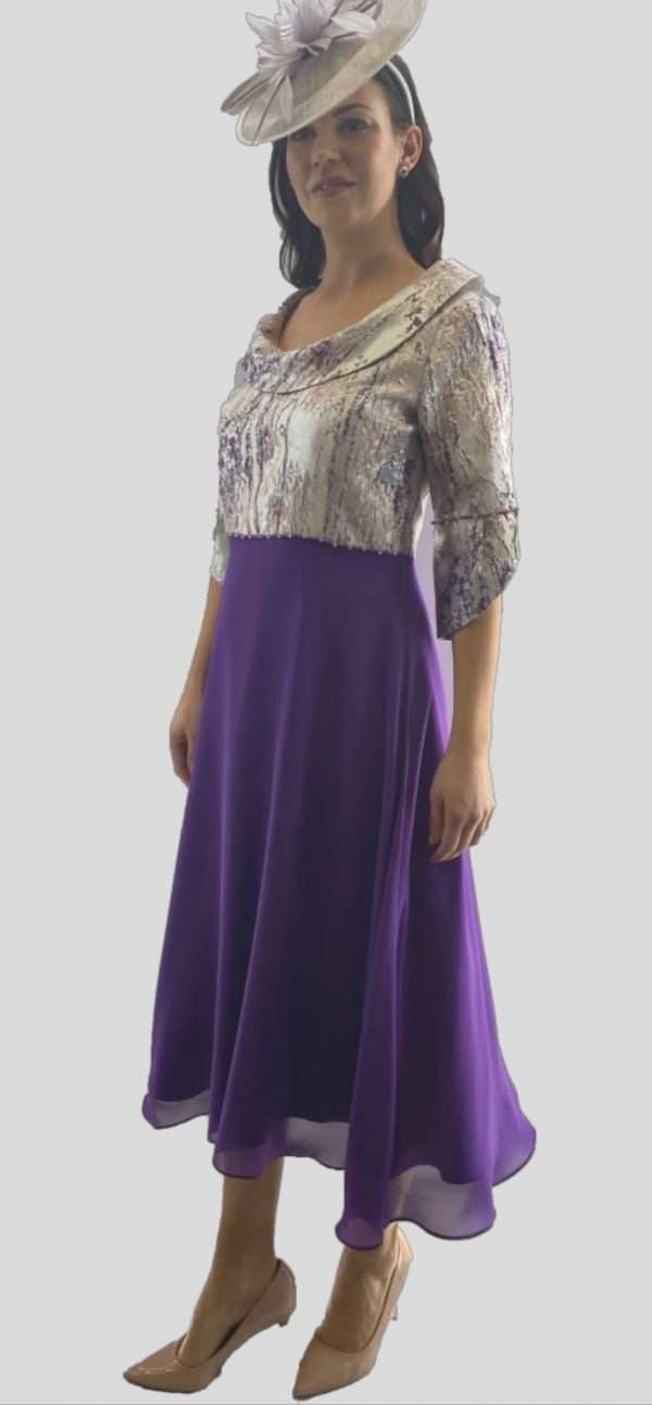 Ella Boo Silver and Lilac Print Scoop Neck Dress with Lilac Layered Skirt and Pearl and Diamante Trims