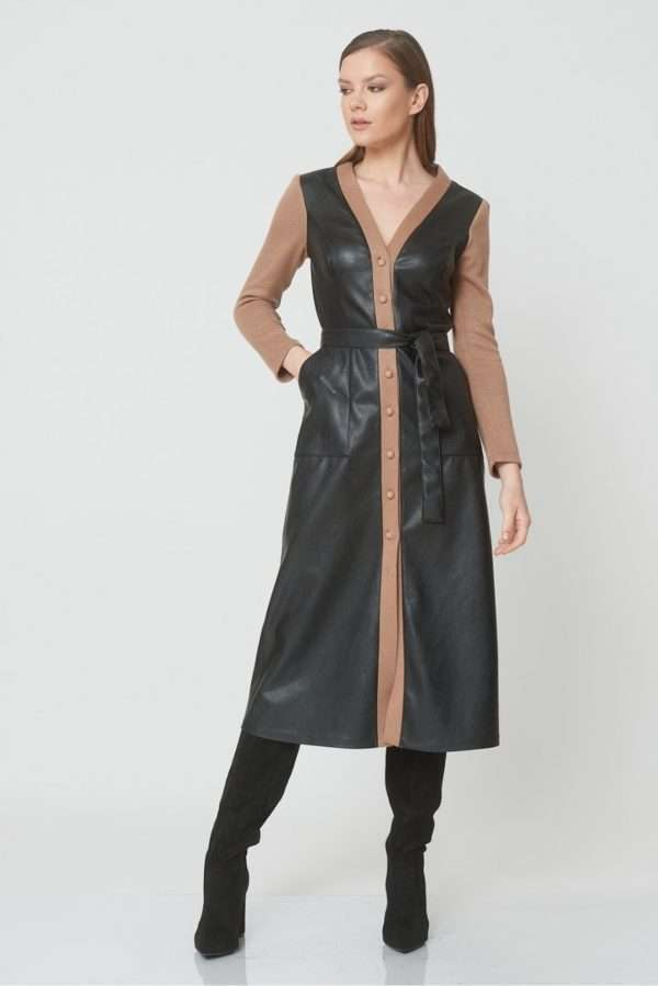 Camelot Faux Leather Button Down Dress with Jersey Trim and Sleeves
