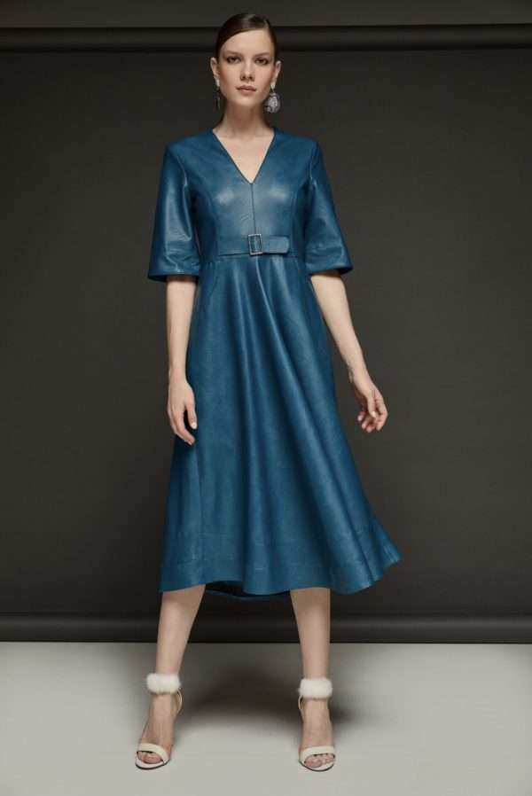 Camelot Teal Faux Leather Dress with Full Skirt
